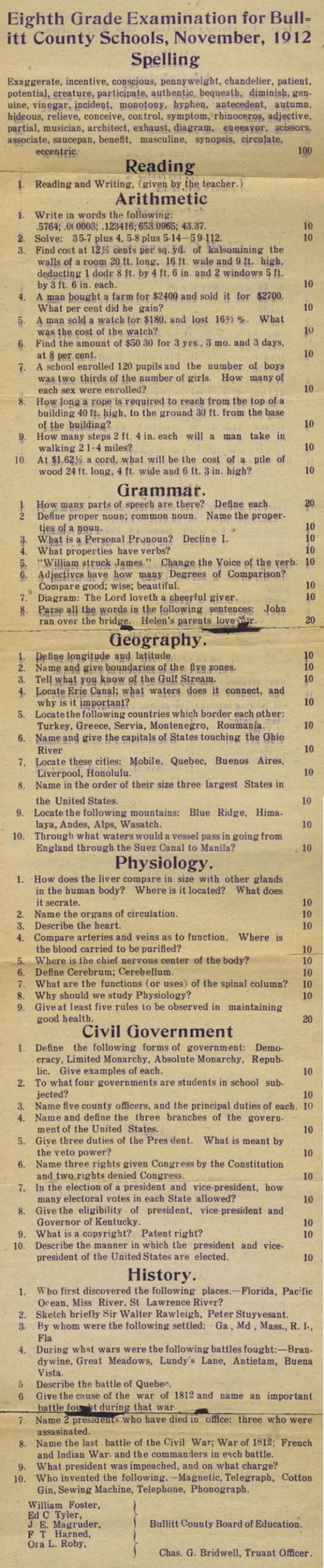 test for the eighth grade in 1912