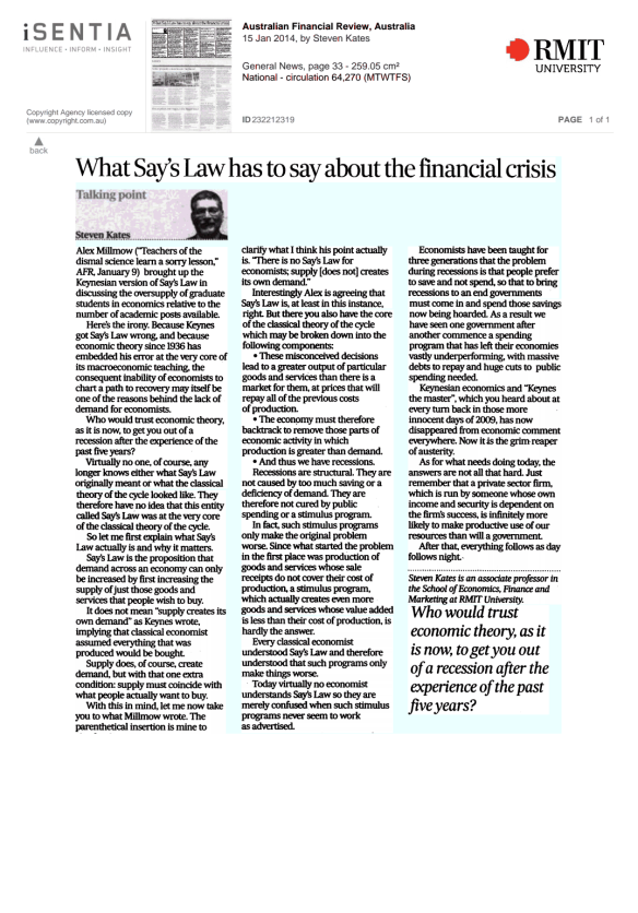 afr - steve kates on says law