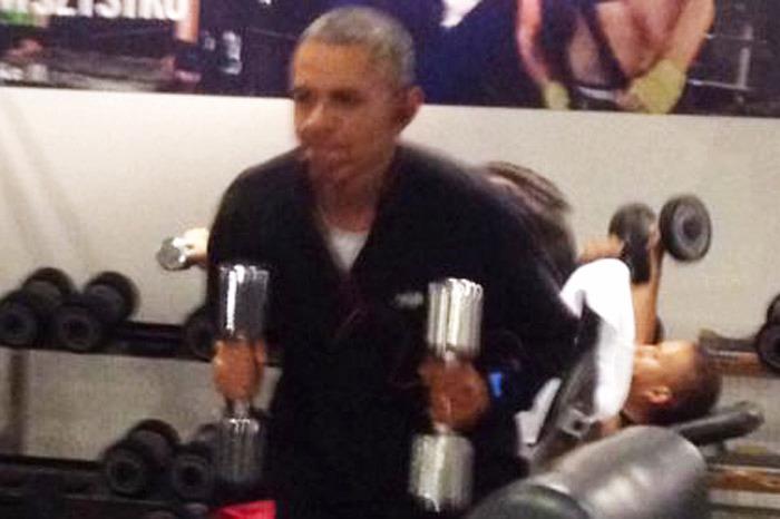 obama pumping iron