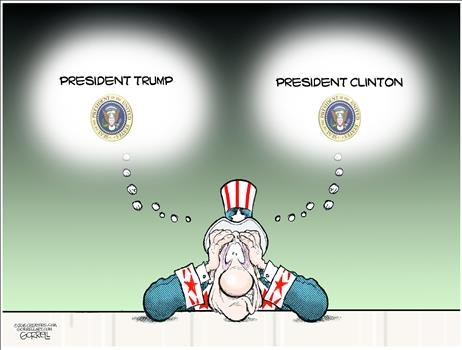 Image result for trump clinton cartoon